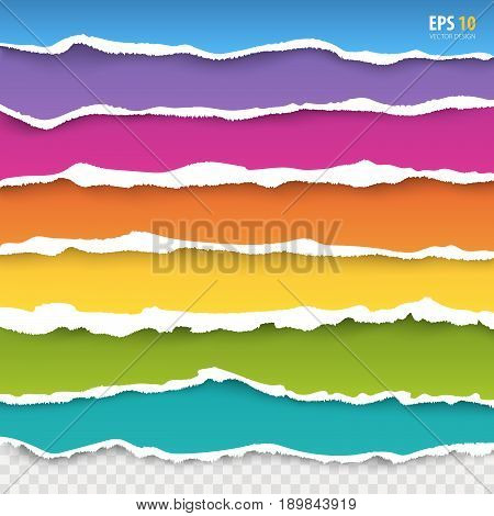 Torn paper edges vector: blue pink violet orange yellow green turquoise color paper. Realistic colored torn papers with ripped edge on transparent background. Torn page banners for web print.