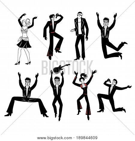 Full length front view grope of artists (dancers singers musicians) isolated on white background. Vector illustration. You can use this image for fashion design and etc.
