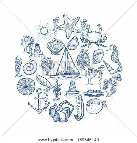 Naval hand drawing vector presentation template. Vintage illustration