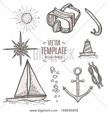Naval hand drawing vector presentation template. Vintage illustration