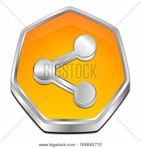 glossy orange Share Button - 3D illustration