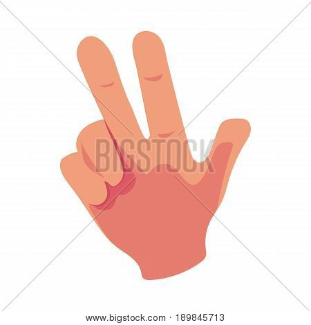 Caucasian human hand showing V for Victory sign, triumph symbol, cartoon vector illustration isolated on white background. Cartoon hand with index and middle fingers raised up, Victory symbol