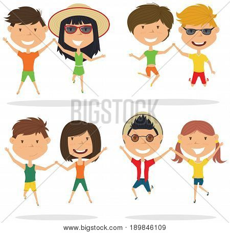 Cute couples jumping outdoor vector illustration. Cheerful young boys and girls make a jump isolated on a white background. Happy teenagers lifestyle.