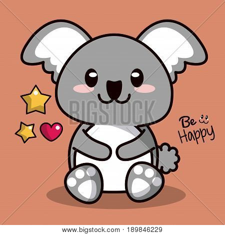 color background with cute kawaii animal koala and floating hearts with stars vector illustration