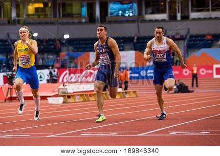 BELGRADE SERBIA - MARCH 3-5 2017: MAN 60M HEPTATHLON DUDAS MIHAIL BRYANT ASHLEY SAMUELSSON FREDRIK EUROPEAN ATHLETICS INDOOR CHAMPIONSHIPS IN BELGRADE SERBIA