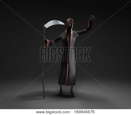 Death With A Scythe 3D Render Against A Darck Background