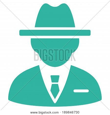 Cyan Agent toolbar pictogram. Vector pictogram style is a flat symbol on diagonal hatch transparent background.