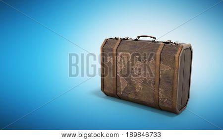 Vintage Travel Suitcase 3D Render On Blue Background