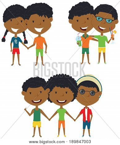 Summer African-American people standing and holding hands. Vector set of happy boys and girls. Collection of cute female and male characters. Smiling friends on summer vacation.