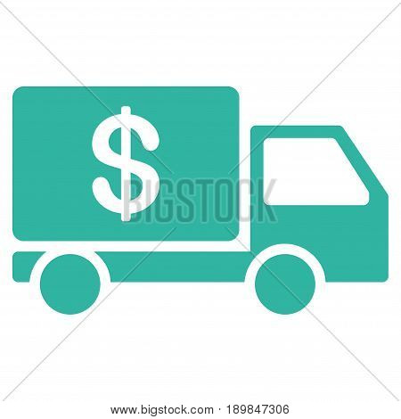 Cyan Cash Delivery interface toolbar pictogram. Vector pictograph style is a flat symbol on diagonal hatch transparent background.