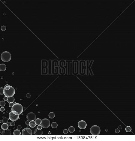 Random Soap Bubbles. Abstract Left Bottom Corner With Random Soap Bubbles On Black Background. Vecto