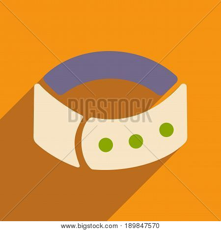 Flat with shadow icon and mobile application dog collar