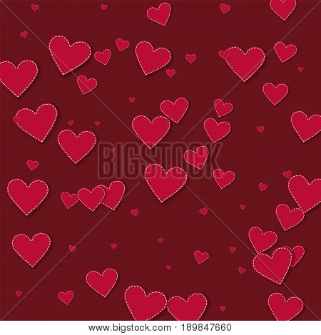 Red Stitched Paper Hearts. Chaotic Scatter Lines With Red Stitched Paper Hearts On Wine Red Backgrou