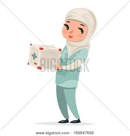 Transplant Surgeon Nurse Female Girl Cute Arab Doctor with First-aid kit Medicine Box Refrigerator Transplantation Internal Organs Hands Character Isolated Icon Medic Retro Cartoon Design Vector Illustration.
