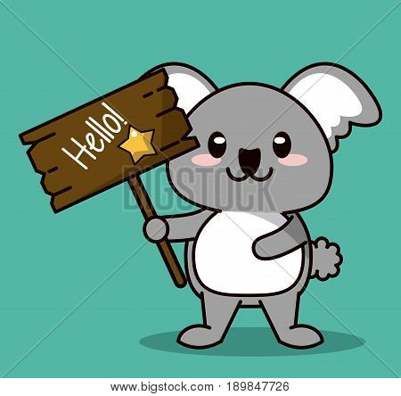 green color background with cute kawaii animal koala standing with wooden sign hello and star vector illustration