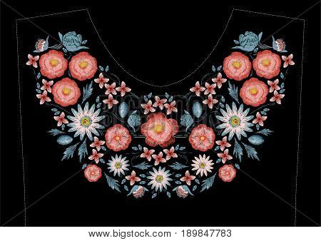 Satin stitch embroidery design with flowers. Folk line floral trendy pattern for dress neckline. Ethnic colorful fashion ornament for neck on black background