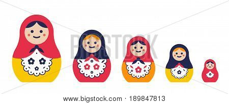 Set of traditional nesting doll. Simple colorful matryoshkas of different sizes. flat vector illustration