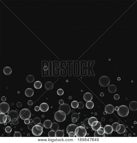 Random Soap Bubbles. Scatter Bottom Gradient With Random Soap Bubbles On Black Background. Vector Il