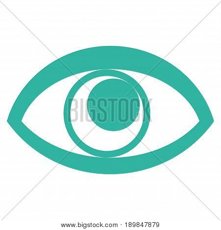 Cyan Eye interface toolbar icon. Vector pictogram style is a flat symbol on diagonal hatch transparent background.