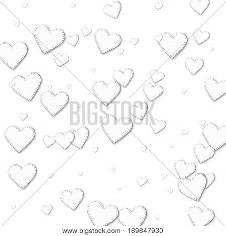 Cutout White Paper Hearts. Chaotic Scatter Lines With Cutout White Paper Hearts On White Background.