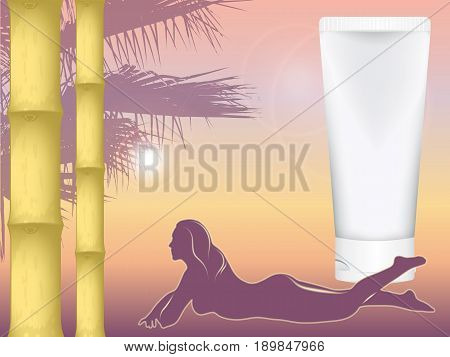 realistic vector cosmetic tube for cream amid the southern dusk. sunset. sunbathing on the belly of the girl. mock up