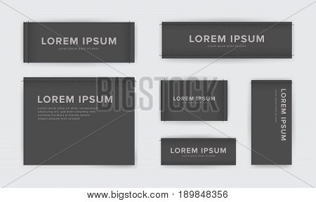 Set of different textile tags. Collection of narrow, wide, large, small, vertical, horizontal labels for clothes. Vector black sticker with place for text