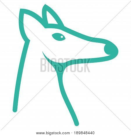 Cyan Fox Head interface toolbar pictogram. Vector pictograph style is a flat symbol on diagonal hatch transparent background.