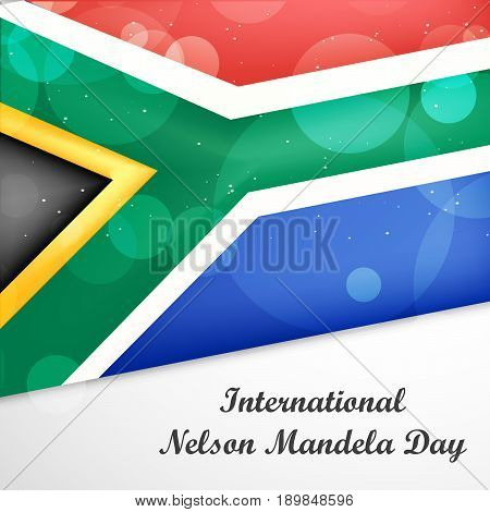illustration south Africa flag with International Nelson Mandela Day text