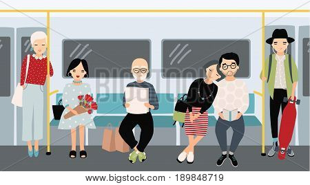 Different people at subway. Trendy young girls and guys at underground train. Horizontal colorful vector illustration in cartoon style