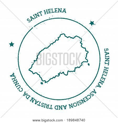 Saint Helena Vector Map. Distressed Travel Stamp With Text Wrapped Around A Circle And Stars. Island