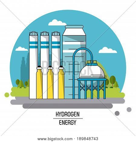 color landscape image hydrogen energy production plant vector illustration
