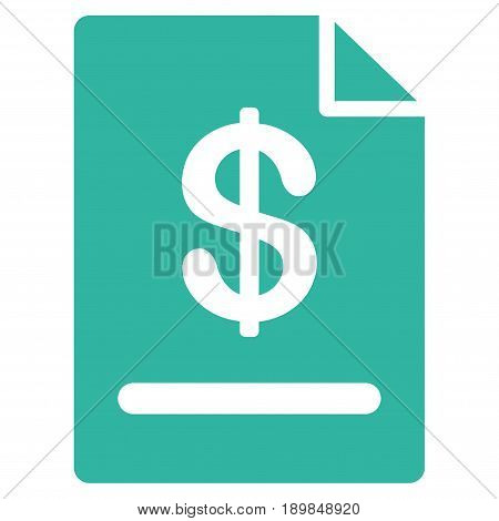 Cyan Invoice toolbar pictogram. Vector pictograph style is a flat symbol on diagonal hatch transparent background.