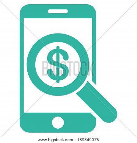 Cyan Mobile Audit interface toolbar pictogram. Vector pictograph style is a flat symbol on diagonal hatch transparent background.
