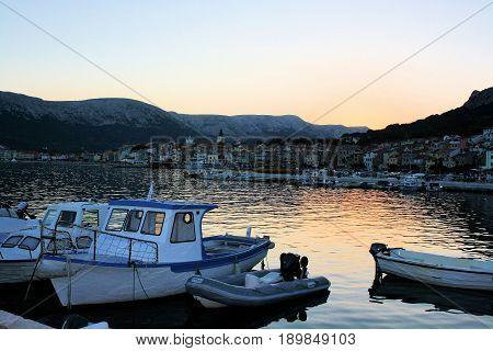 sundown in Baska on the island Krk, Croatia
