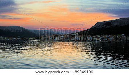 sundown and view on Baska, island Krk, Croatia