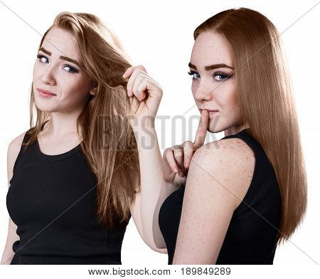 Woman's hair before and after treatment. Health hair concept.