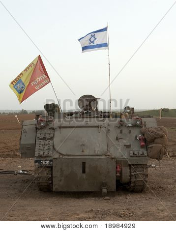 Israeli Defense Forces's armoured personnel carrier M-113 at the Gaza Strip border after military operation Cast Lead