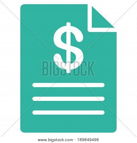 Cyan Price List toolbar icon. Vector pictograph style is a flat symbol on diagonal hatch transparent background.