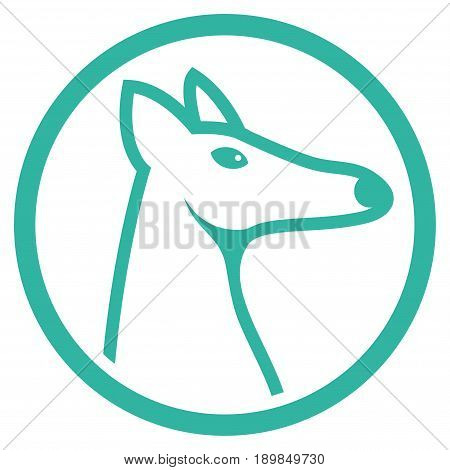 Cyan Rounded Fox Head interface toolbar icon. Vector pictograph style is a flat symbol on diagonal hatch transparent background.