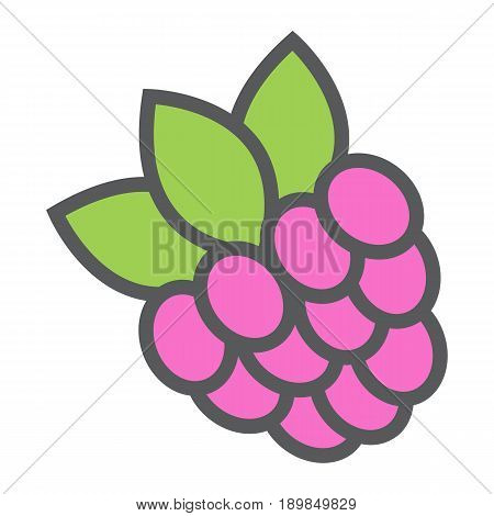 Raspberry line icon, fruit and diet, vector graphics, a colorful linear pattern on a white background, eps 10.