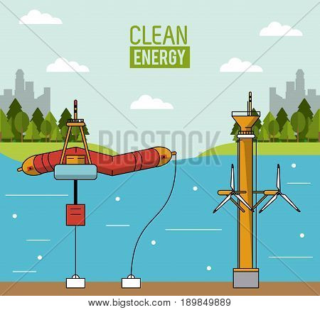 colorful landscape background wave energy and tidal power vector illustration