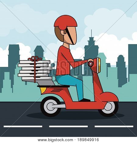 poster city landscape with fast pizza delivery man in red scooter vector illustration