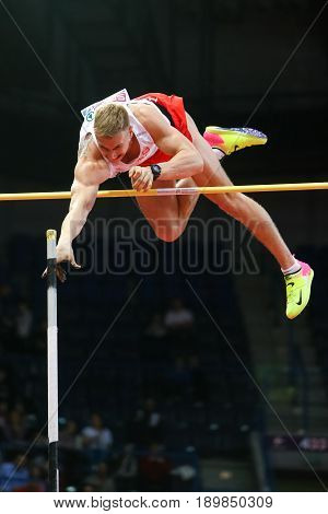 BELGRADE SERBIA - MARCH 3-5 2017: Pole Vault Lisek Piotr European Athletics Indoor Championships in Belgrade Serbia