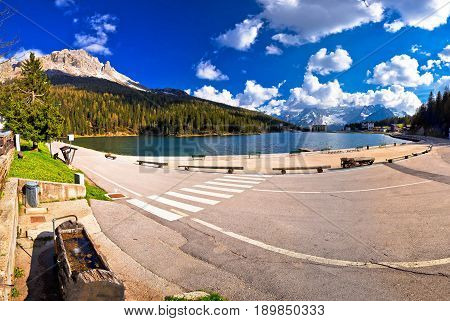 Lake Misurina In Dolomiti Alps Panoramic View