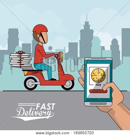 poster city landscape with fast pizza delivery man in red scooter and closeup smartphone app vector illustration