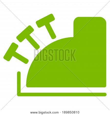 Eco Green Cash Register interface toolbar pictogram. Vector pictogram style is a flat symbol on diagonal hatch transparent background.