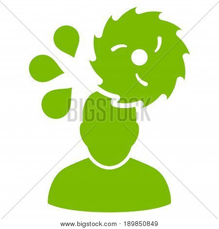 Eco Green Circular Saw Accident interface toolbar pictogram. Vector pictograph style is a flat symbol on diagonal hatch transparent background.