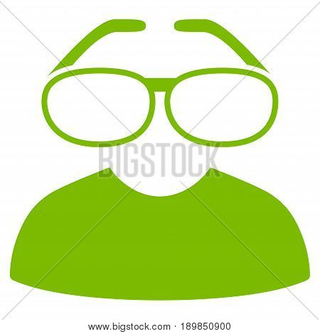 Eco Green Clever Spectacles interface toolbar icon. Vector pictograph style is a flat symbol on diagonal hatch transparent background.