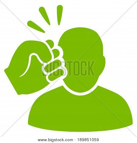 Eco Green Crime Violation Fist Strike interface icon. Vector pictogram style is a flat symbol on diagonal hatch transparent background.