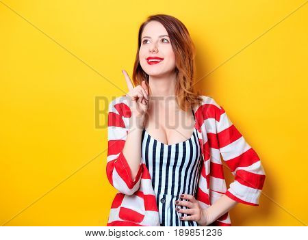 Woman On Yellow Background